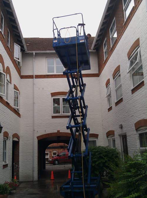 High Level Scissor Lift Exterior Cleaning